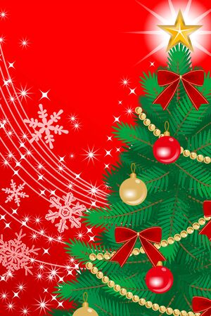 �back ground�: Christmas tree Close-up, Red color Back ground Illustration