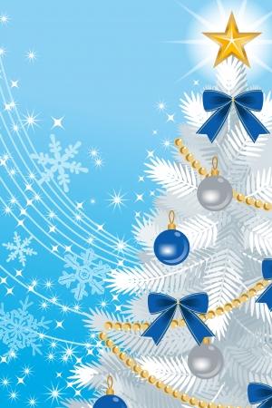 White Christmas tree Close-up, on sky blue Back ground  イラスト・ベクター素材