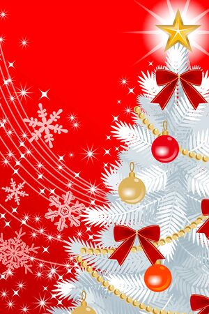 �back ground�: White Christmas tree Close-up, on Red color Back ground