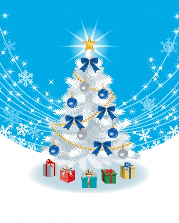 snow crystal: White Christmas tree on sky blue color Back ground