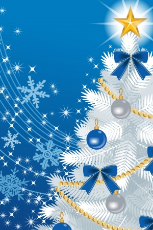 deep blue: White Christmas tree Close-up, on deep blue  color Back ground