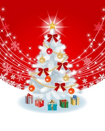 赤い色のバック グラウンド上にホワイト クリスマス ツリー