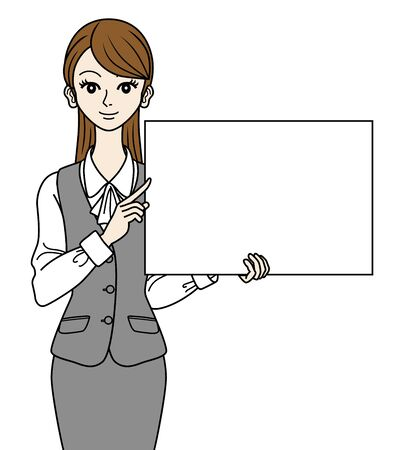 waist up: Office Lady  with white board,Waist Up Illustration