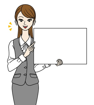 Office Lady  with white board,-speaking- Stock Vector - 16298619