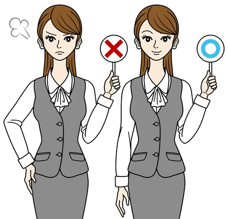 Office Lady,Correct and error Stock Vector - 16298628
