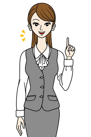 Office Lady, point -speaking- Vector