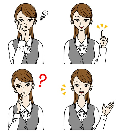 Office Lady set,question,guidance,moody Stock Vector - 16298592