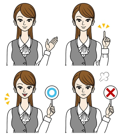 bust up: Office Lady set,judge,point,guide