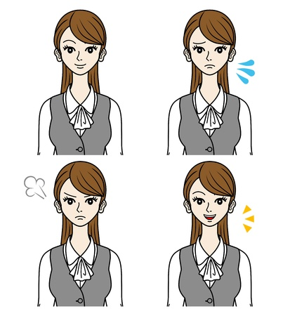 Office Lady Vaus faces Stock Vector - 16298596