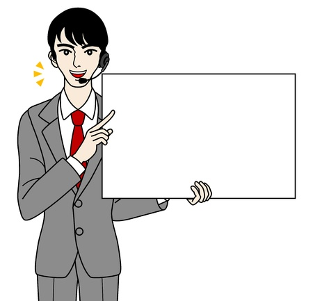 an illustration promoting: Male Operator with white board, -speak-