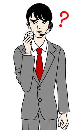 telephone switchboard: Male Operator , question Illustration