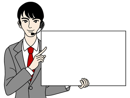telephone switchboard: Male Operator with white board, Bust up Illustration