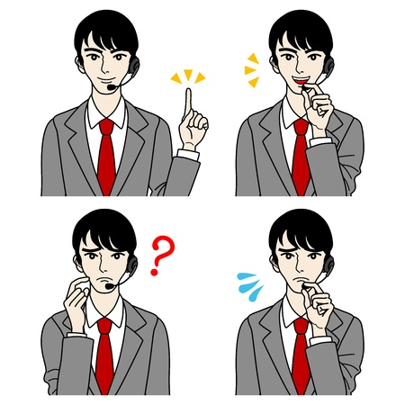 Male Operator set,- question,Trouble,point,talk Stock Vector - 16298586