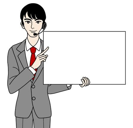 standardiste: Op�rateur m�le avec tableau blanc Illustration