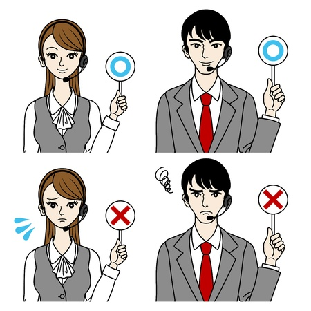 switchboard: Operator Correct and error-Men and women- Illustration