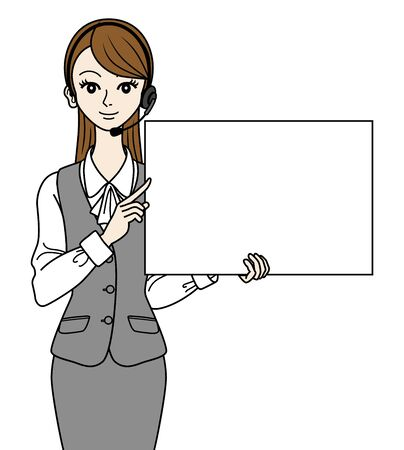 Operator with white board Stock Vector - 16298621