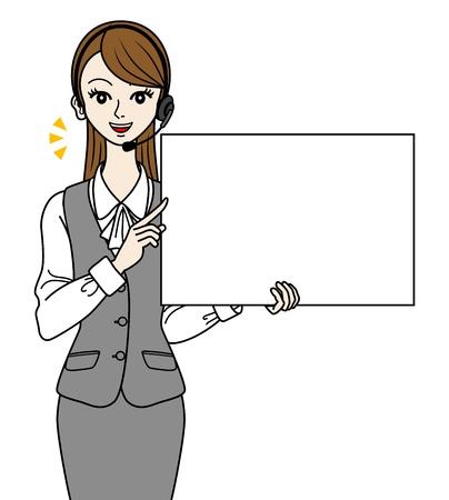 standardiste: Op�rateur avec tableau blanc,-parler-