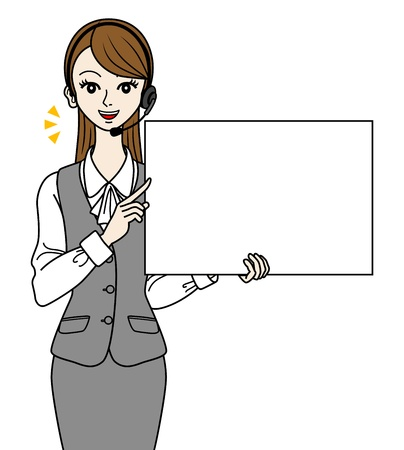 switchboard operator: Operator with white board, -speak- Illustration