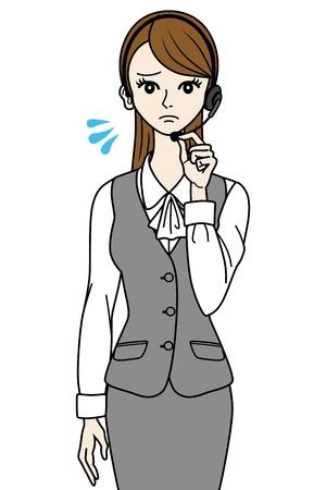 uniformes de oficina: Operador femenino en problemas