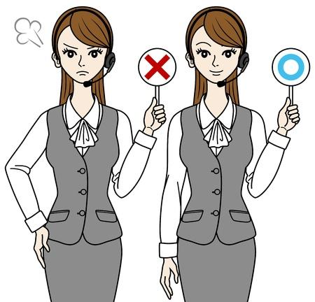 correct: Female operator ,Correct and error Illustration