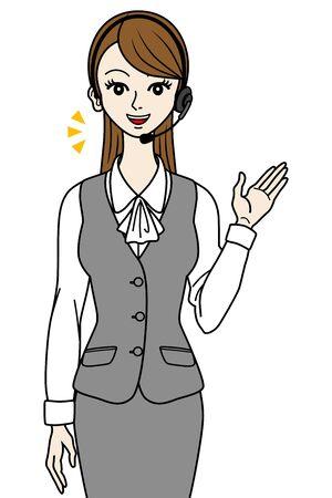 Female operator guide,talking Stock Vector - 16298618