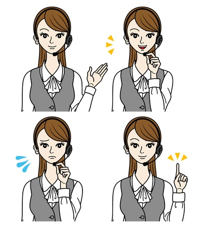 Female Operator, facial expression set Stock Vector - 16298594