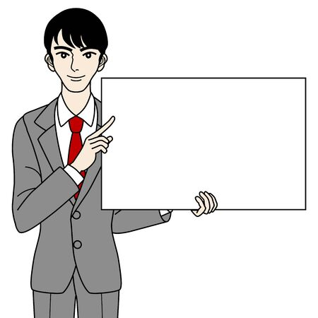 Businessman with white board Stock Vector - 16298697