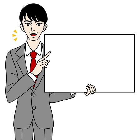 Businessman with white board, -talk- Stock Vector - 16298679