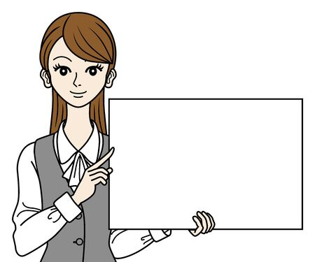 Office Lady with white board Vector