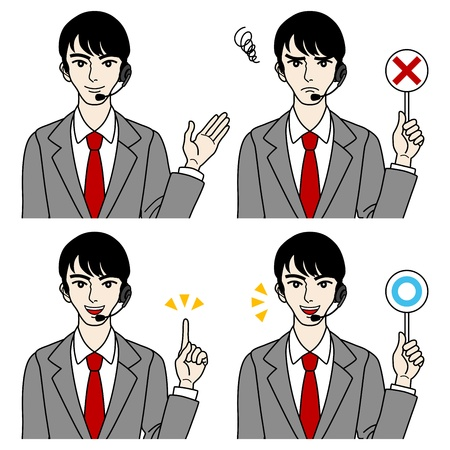 Male operator,Various expressions Stock Vector - 16298588