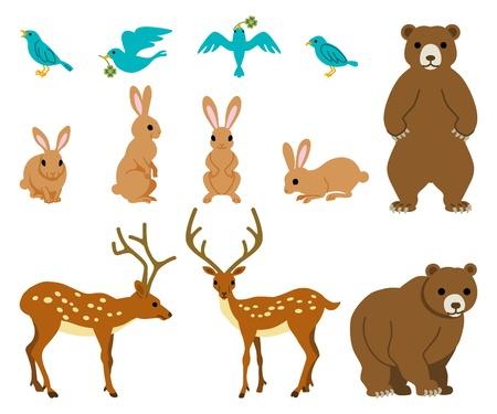 Animal set, Rabbit, bird, deer, bear