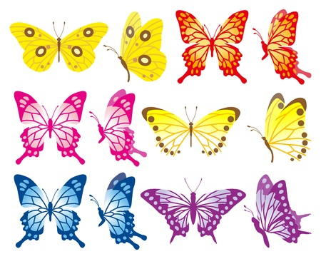 Butterfly variety set Vector