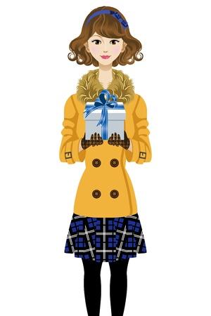 wintermode: Nette Frau haben Geschenkbox-Winter-Mode