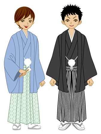 Two Young men wearing Kimono Stock Vector - 16671405