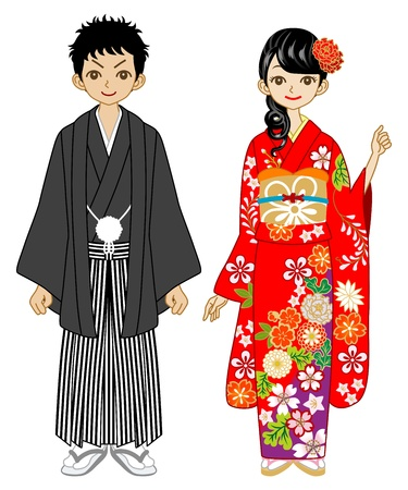 japanese kimono: Young Couple wearing kimono -black and red Illustration