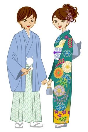 기모노 블루 그린을 입고 커플
