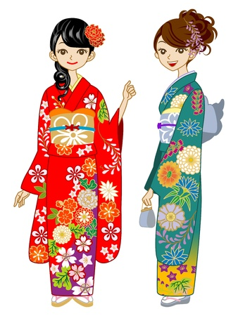 Two young women wearing Kimono Vector