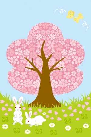 Cherry tree on Spring meadow Vector