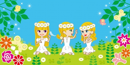 Three girls in spring garden Vector
