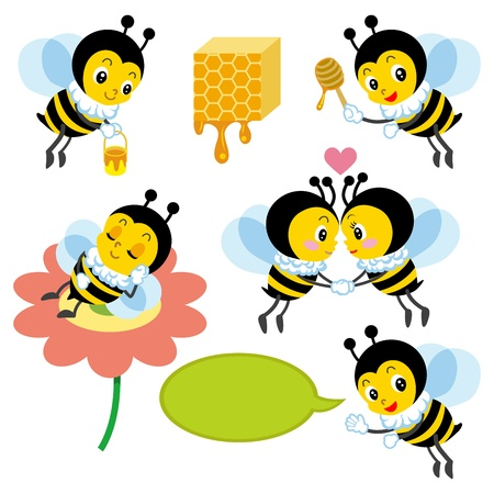 Honeybee Character set Stock Vector - 16671396