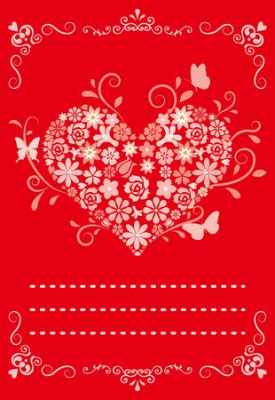 greeting card,Flower heart -Red Vector