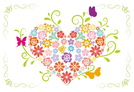 Flower heart -pastel color Vector