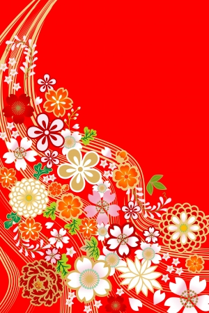japan pattern: bloem design, Japanse stijl Stock Illustratie