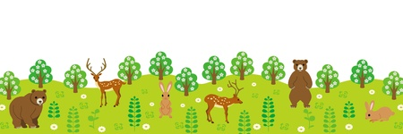 Cute Animals in forest ,Panorama View Stock Vector - 16821785