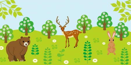 Cute Animals in forest  Stock Vector - 16821783
