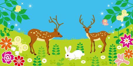 春の野でかわいい動物  イラスト・ベクター素材