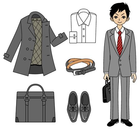 job hunting: Young Business man and Item set