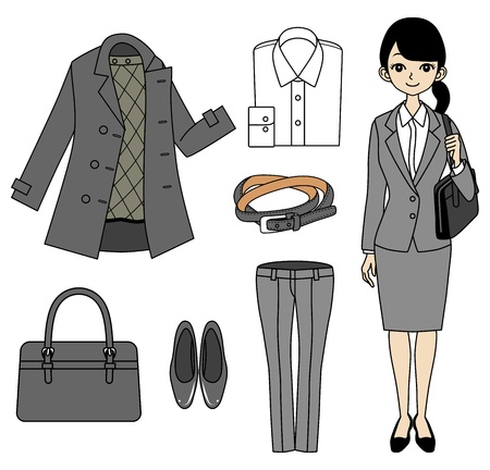 job hunting: Young Business Woman and Item set