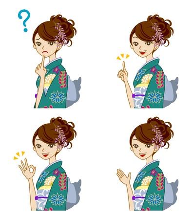 Variety of facial expressions,  Green Kimono woman Stock Vector - 17023463