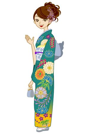 whole body: Green Kimono woman, Guide